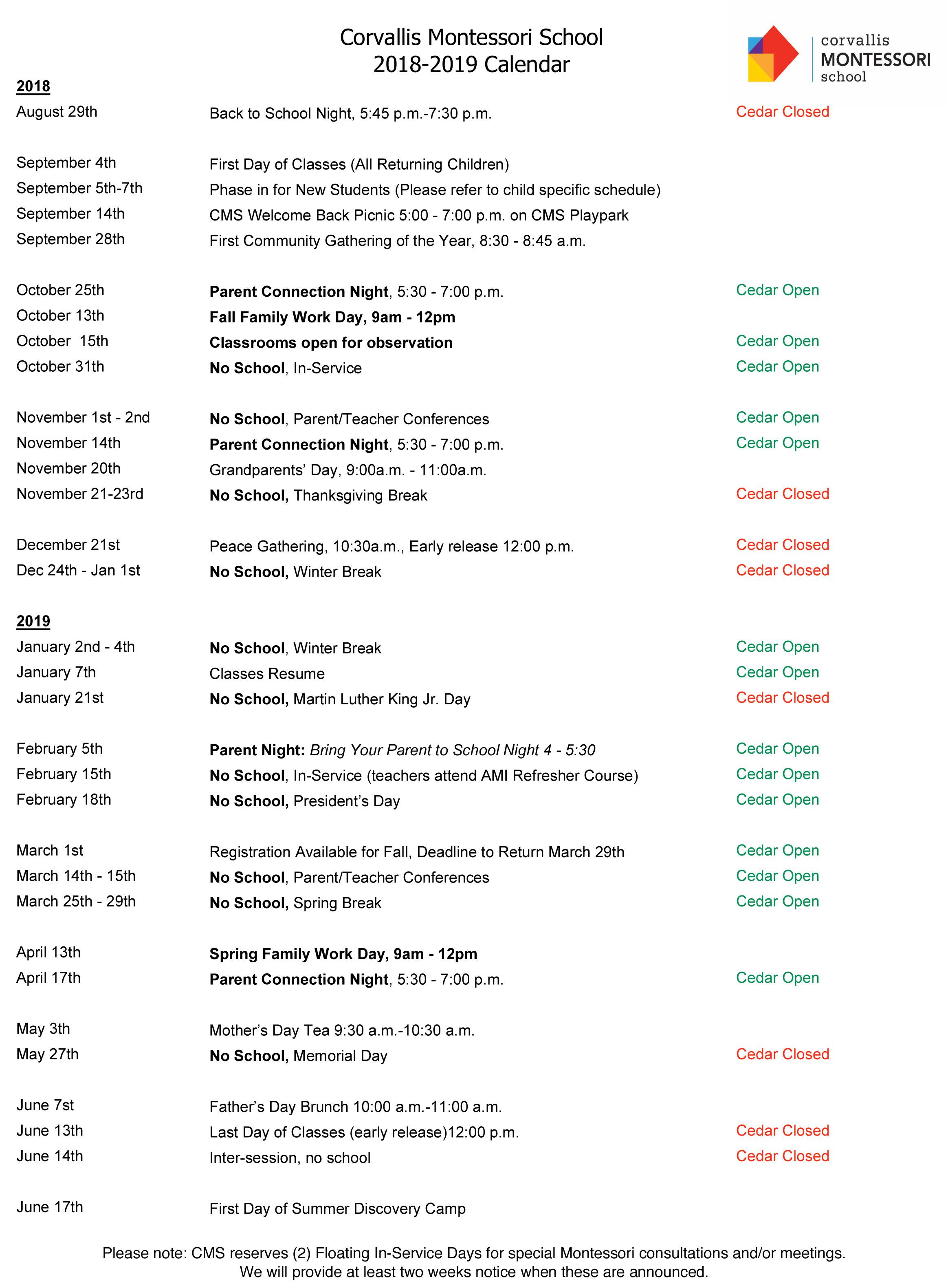 School Cms January Calendar 2019 2018 2019 CMS Calendar
